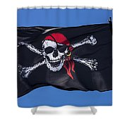 Pirate Skull Flag With Red Scarf Shower Curtain