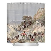 Pirates From The Barbary Coast Capturin Gslaves On The Mediterranean Coast Shower Curtain by Albert Robida