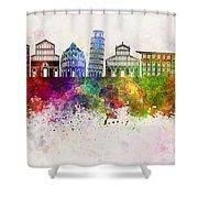 Pisa Skyline In Watercolor Background Shower Curtain