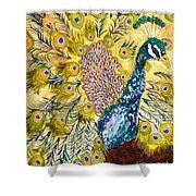 Pistacio Peacock Shower Curtain