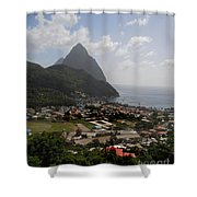 Pitons St. Lucia Shower Curtain