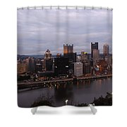 Pittsburgh Aerial Skyline At Dusk Shower Curtain