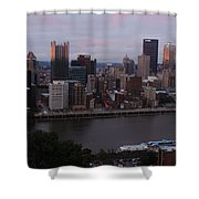 Pittsburgh Aerial Skyline At Sunset 3 Shower Curtain