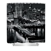 Pittsburgh Black And White  Shower Curtain