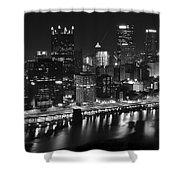 Pittsburgh Black And White Night Shower Curtain