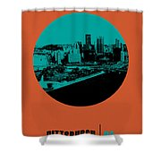 Pittsburgh Circle Poster 1 Shower Curtain