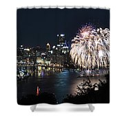 Pittsburgh Fireworks At Night Shower Curtain