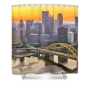 Pittsburgh Incline Sunrise Panorama Shower Curtain