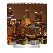 Pittsburgh Lights Under Cloudy Skies Shower Curtain