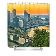 Pittsburgh Orange Skyline Shower Curtain