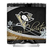 Pittsburgh Penguins Christmas Shower Curtain