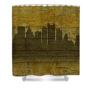 Pittsburgh Pennsylvania City Skyline Silhouette Distressed On Worn Peeling Wood No Name Version Shower Curtain