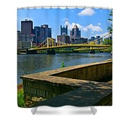 Pittsburgh Pennsylvania Skyline And Bridges As Seen From The North Shore Shower Curtain