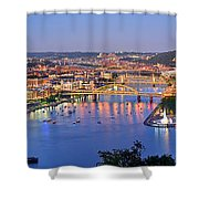 Pittsburgh Pennsylvania Skyline At Dusk Sunset Extra Wide Panorama Shower Curtain