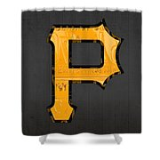 Pittsburgh Pirates Baseball Vintage Logo License Plate Art Shower Curtain