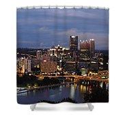 Pittsburgh Skyline At Dusk From Mount Washington Shower Curtain