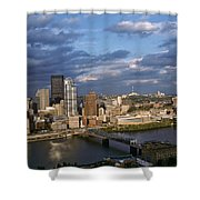 Pittsburgh Skyline At Dusk Shower Curtain
