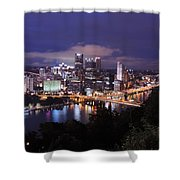 Pittsburgh Skyline At Night From Mount Washington 3 Shower Curtain