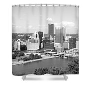 Pittsburgh Skyline From Mount Washington Black And White Shower Curtain