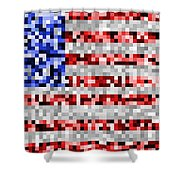 Pixel Flag Shower Curtain