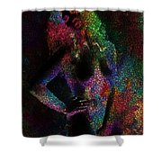 Pixel Girl Shower Curtain