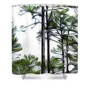Pixelated Pine Shower Curtain