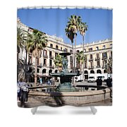 Placa Reial In Barcelona Shower Curtain