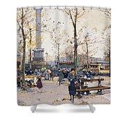 Place De La Bastille Paris Shower Curtain by Eugene Galien-Laloue