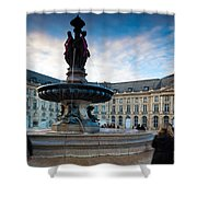 Place De La Bourse Buildings At Dusk Shower Curtain