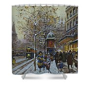 Place De La Republique Paris Shower Curtain by Eugene Galien-Laloue