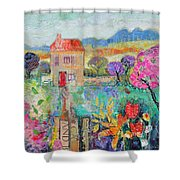 Place In The Country, 2014, Acrylicpaper Collage Shower Curtain