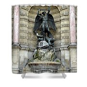 Place Saint Michel Statue And Fountain In Paris France Shower Curtain