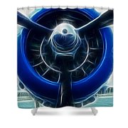 Plane Blue Prop Shower Curtain by Paul Ward