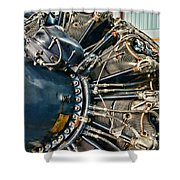 Plane Engine Close Up Shower Curtain