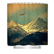 Plane Flying Over Mountains Shower Curtain