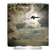 Plane In Flight Shower Curtain