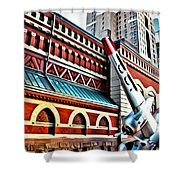 Plane In The City Shower Curtain