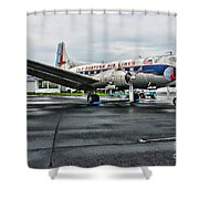 Plane On The Tarmac Shower Curtain