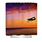 Plane Pass At Sunset Shower Curtain