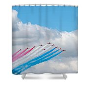 Planes Fly In Airshow Shower Curtain