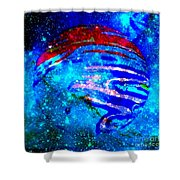 Planet Disector Blue/red Shower Curtain