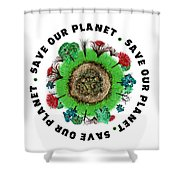 Planet Earth Icon With Slogan Shower Curtain