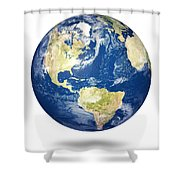 Planet Earth On White - America Shower Curtain by Johan Swanepoel