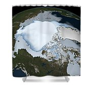 Planet Earth Showing Sea Ice Coverage Shower Curtain