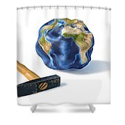 Planet Earth Smashed By A Hammer Shower Curtain