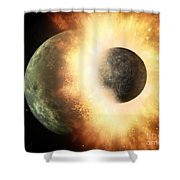 Planetary Demolition Derby  Shower Curtain