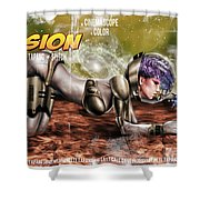 Planetary Invasion Shower Curtain by Pete Tapang