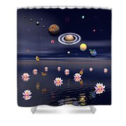 Planets Of The Solar System Surrounded Shower Curtain