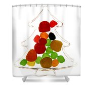 Plastic Christmas Tree Containing Sweet Shower Curtain