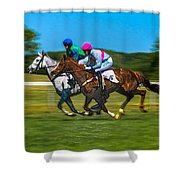 Plastic Wrapped Steeplechase Shower Curtain